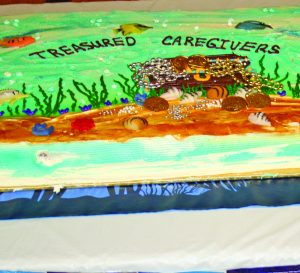 A decorated cake for the treasured caregivers.